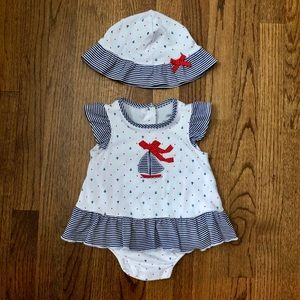 Little Me Nautical Dress & Hat Set